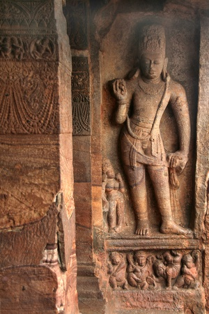 Sculpture at entrance of Cave Temple at Badami, Karnataka, India, Asia Stock Photo - 8785341