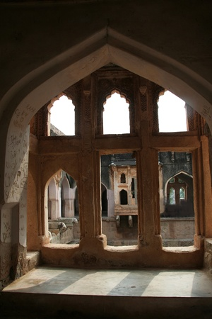 Stone windows on balcony of Queens' Bath at Hampi, Karnataka, India, Asia Stock Photo - 9311671