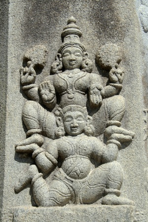 Sculpture of devotee carrying Lord Vishnu on shoulder at Melkote, Karnataka, India, Asia Stock Photo - 9339802