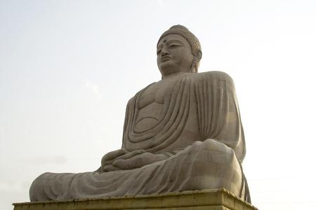 bodhgaya: Giant Statue of Buddha sitting in tranquil mood, Bodhgaya, Bihar, India, Asia Stock Photo
