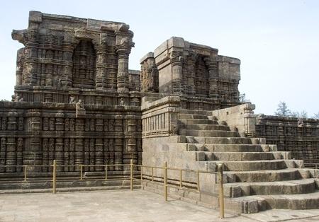 dais: Stone steps leading  to pedestal of Sun Temple at Konark, Orissa, India, Asia Stock Photo