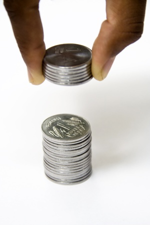 rupees: Concept small savings -Adding of pennies, cents or rupees makes a huge fortune