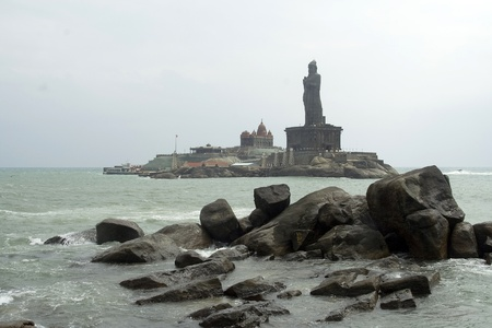 Rock Memorials at Kanyakumari, the tip of Indian Subcontinent, where Indian Ocean meets Arabian Sea and Bay of Bengal Stock Photo - 11574334