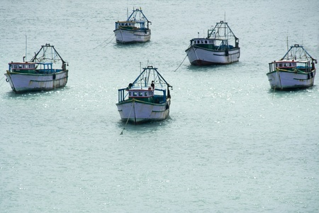 convoy: Convoy of five ships afloat on sea water