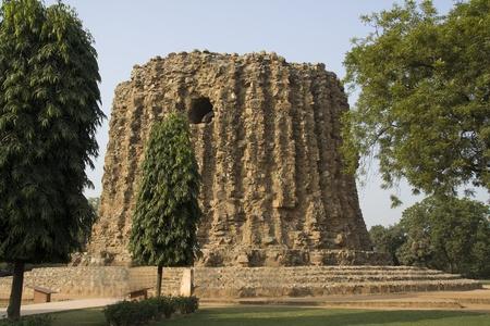 minar: Incomplete Minar structure in Qutub Minar Complex, New Delhi, India, Asia