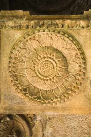 Pillar carving of bloomed lotus at Ladkhan Temple in Aihole, Bagalkot district, Karnataka, India, Asia Stock Photo - 11790616