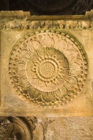 Pillar carving of bloomed lotus at Ladkhan Temple in Aihole, Bagalkot district, Karnataka, India, Asia Stock Photo - 11790616