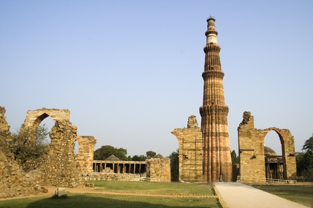 Forlorn structures around Qutub Minar victory tower in Delhi, India, Asia