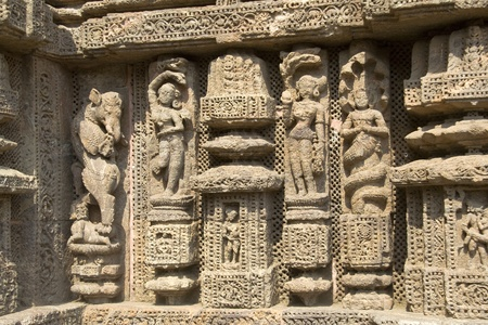 depiction: Depiction of mythological characters by deft hands on wall of Sun Temple, Konark, Orissa, India, Asia