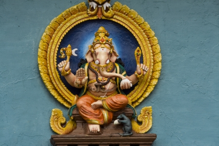 idol: Idol of elephant headed Hindu God Ganesha at the entrance of Chamundeshwari Temple in Chamundi Hills, Mysore, Karnataka, India, Asia