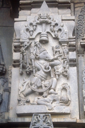 Sculpture of Ganesha  gleefully dancing holding amours in his hands at Channakeshava Temple , Belur, Karnataka, India, Asia Stock Photo - 15902114