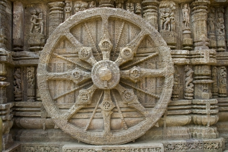 Detail s of rim, spokes and axle on chariot stone wheel at Sun Temple, Konark, Orissa, India, Asia Stock Photo - 16310769