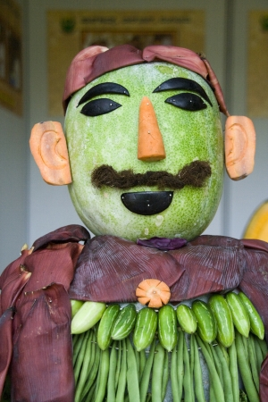 horticultural: Shape of man sculpted in vegetables like pumpkin, carrot, beans, etc  at Horticultural Show in Lalbagh Botanical Garden, Bangalore, Karnataka, India, Asia