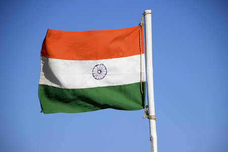 ashoka: Indian national flag with saffron, white and green color bands and Ashoka chakra wheel in the middle Stock Photo