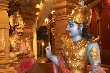 preaching: Lord Krishna preaching Bhagavadgita to Arjuna at battlefield, Kudroli Gokarnanatheswara Temple, Mangalore, Karnataka, India, Asia