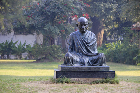 Sitting posture statue of Mahatma Gandhi at Sabarmathi Ashram, Ahmedabad, Gujarath, India, Asia