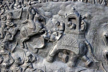 Close-up de bas-relief sculpture de Haldighat sc�ne de guerre � Pratap Smarak Moti Magri Hill � Udaipur, Gujarat, en Inde, en Asie