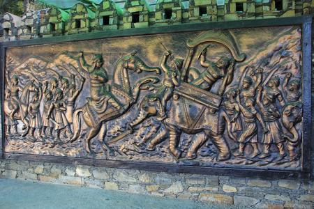 Panel depicting the Great War of Haldighat on wall at entrance of Maharana Pratap Museum at Haldighat, Rajasthan, India, Asia
