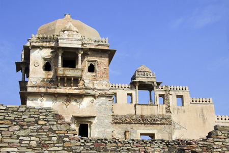chittorgarh fort: Closer view of fort, palace and gallery at Kumbh Mahal, Chittorgarh Fort, Rajasthan, India, Asia