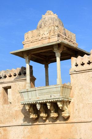 chittorgarh fort: Decorative, sculptured stone gallery at Kumbh Mahal, Chittorgarh Fort, Rajasthan, India, Asia Editorial