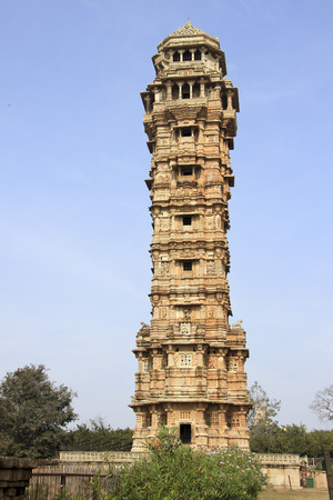 monument in india: 122 feet tall, 9 storied monument Vijay Sthambh  Victory Tower  having 157 stairs at Chittorgarh Fort, Rajasthan, India, Asia