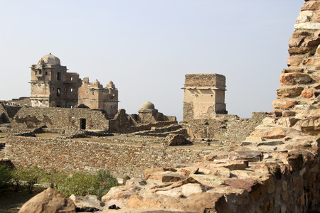 Distant view of Rana Kumbh Palace at Chittorgarh Fort, Rajasthan, India, Asia photo