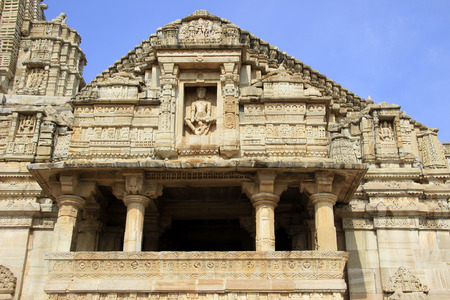 chittorgarh fort: Frontal view of temple of Lord Krishnas devotee Meera in the vicinity of Victory Tower, Chittorgarh Fort, Rajasthan, India, Asia