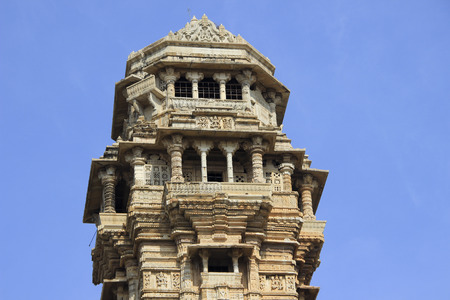 Closer view of top floors of Vijay Sthambh (Victory Tower), Chittorgarh Fort, Rajasthan, India, Asia photo
