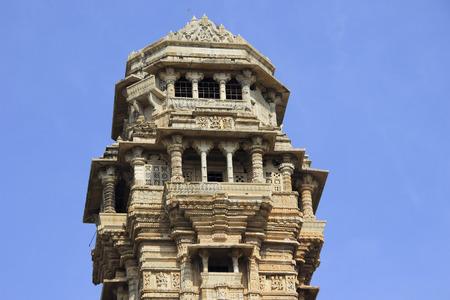 chittorgarh fort: Closer view of top floors of Vijay Sthambh (Victory Tower), Chittorgarh Fort, Rajasthan, India, Asia Stock Photo