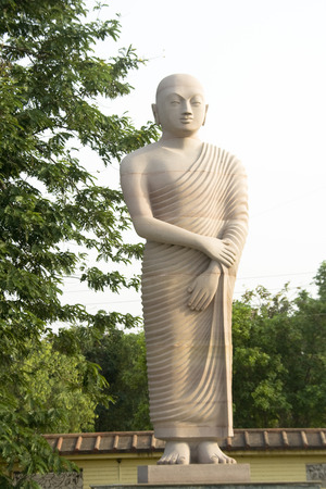 disciple: Statue of disciple of Buddha standing in tranquil mood, Bodhgaya, Bihar, India, Asia Stock Photo