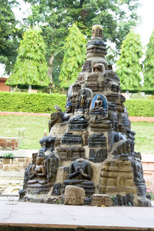 bodhgaya: Conical sculptural panel at Mahabodhi Temple Complex in Bodhgaya, Bihar, India, Asia