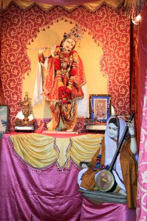 chittorgarh fort: Santa Meera singing bhajans in praise of Lord Krishna in Meera temple near Vijay Sthambh, Chittorgarh Fort, Rajasthan, India, Asia Editorial