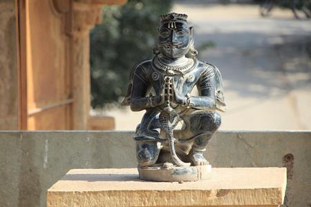chittorgarh fort: Statue of Garuda sitting with folded hands at Kumbha Shyam, Chittorgarh Fort, Rajasthan, India, Asia