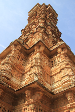 Low angle corner view of Vijay Sthambh (Victory Tower), Chittorgarh Fort, Rajasthan, India, Asia photo