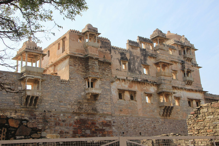 frontal view: Backlit frontal view of Rana Kumbh Palace at Chittorgarh Fort, Rajasthan, India, Asia