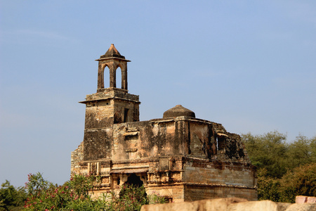 chittorgarh fort: Top portion of palace having watch tower at Chittorgarh Fort, Rajasthan, India, Asia
