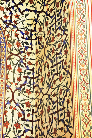 maharaja: Attractive floral motif on entrance wall at Maharaja Sawai Mansingh-II Museum, City Palace, Jaipur, Rajasthan, India, Asia Editorial
