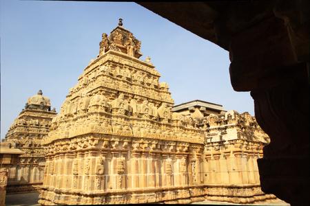 nandi: Beautiful stone architecture of twin Nandish Temples at the base of Nandi Hills near Bengaluru, Karnataka, India, Asia