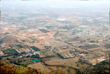 viewed: Landscape viewed down from top of Nandi Hills near Bengaluru, Karnataka, India, Asia