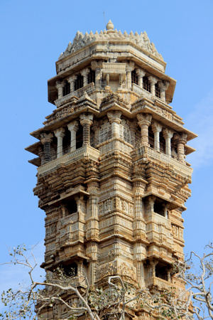 chittorgarh fort: View of top floors of Vijay Sthambh (Victory Tower), Chittorgarh Fort, Rajasthan, India, Asia Stock Photo