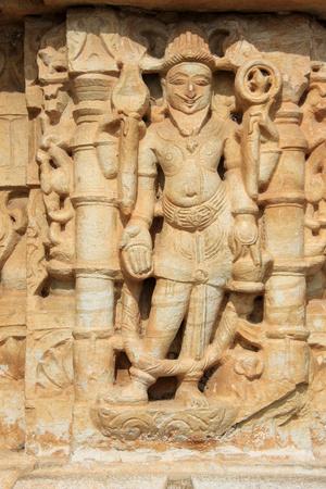 chittorgarh fort: Wall panel sculpture at Vijay Sthambh (Victory Tower), Chittorgarh Fort, Rajasthan, India, Asia