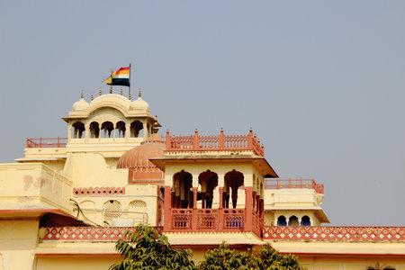 accommodating: Ornate balconies on top of palace housing Maharaj Sawai Mansingh II Museum, City Palace, Jaipur, Rajasthan, India, Asia
