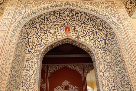 elaborate: Highly elaborate painting at entrance of Maharaj Sawai Mansingh II Museum