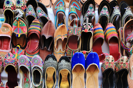 hand crafted: Hand crafted, colorful shoes on display at Jaisalmer Fort, Jaisalmer, Rajasthan, India, Asia
