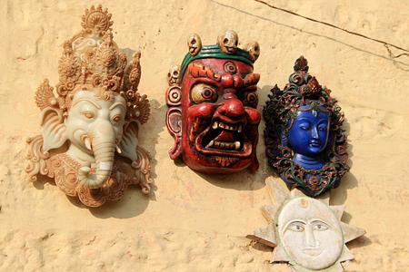jaisalmer: Display of masks of Ganesha, Devil, Shiva and Surya at Jaisalmer Fort, Jaisalmer, Rajasthan, India, Asia