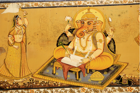 scripting: Wall painting of Ganesha engaged in writing Mahabharat dictated by Maharshi Vyas at Mehrangarh Fort, Jodhpur, Rajasthan, India, Asia