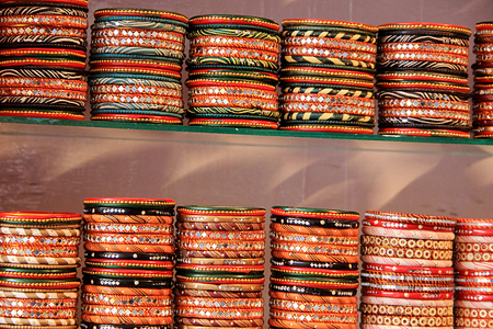 wristlets: Display of bright, colorful bangles at a fancy store
