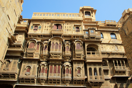 Grand look of frontal view of Patwon-ki-Haweli at Jaisalmer, Rajasthan, India, Asia Banco de Imagens