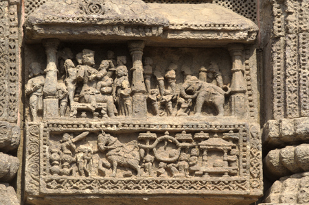aspects: Wall panel depicting different aspects of life at Sun Temple, Konark, Odisha (Orrissa), India, Asia