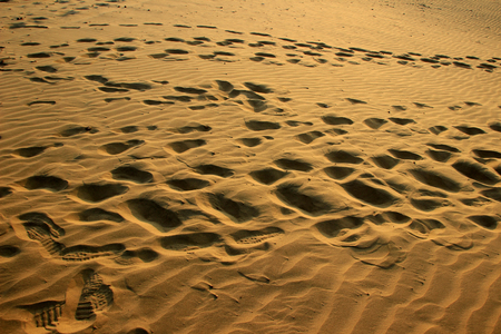 Sun soaked, golden, fine, silky, smooth sand with footprints at Sam Sand Dunes, Jaisalmer, Rajasthan, India, Asia
